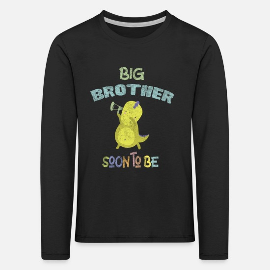 Brother Long sleeve shirts - Pregnancy Announcement Big Brother DinoDab - Kids' Premium Longsleeve Shirt black