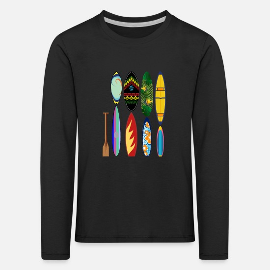 Birthday Long sleeve shirts - Surfing sea paddle board - Kids' Premium Longsleeve Shirt black