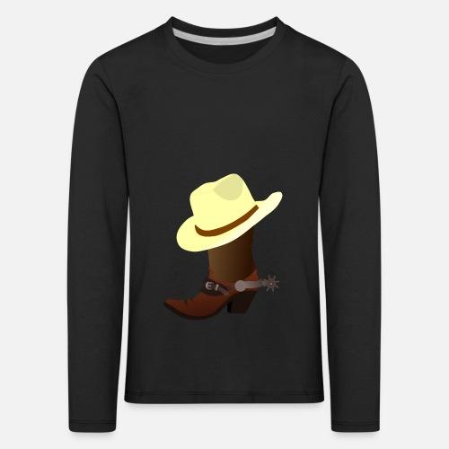vaquero ranchero Wester caballo guardabosques sheriff - Camiseta de manga  larga premium niño. delante a8a7dd8520a