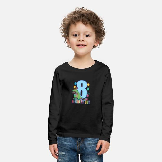 Birthday Long sleeve shirts - T-Rex T-Shirt 8th Birthday T-Rex for Boys - Kids' Premium Longsleeve Shirt black