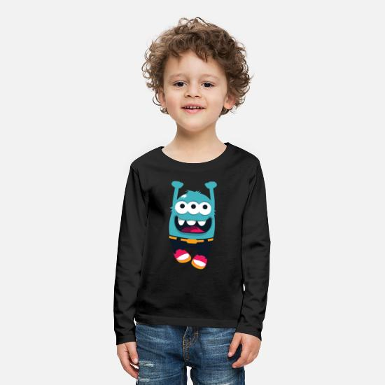 School Boys Long sleeve shirts - Monster whirlwind - Kids' Premium Longsleeve Shirt black