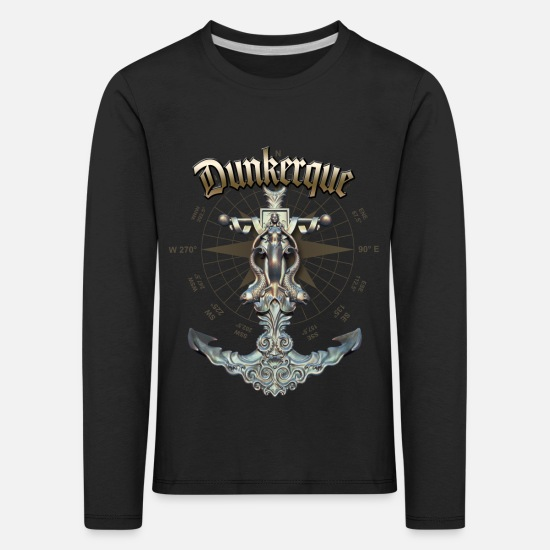 Yacht Long sleeve shirts - Dunkerque Anchor Nautical Sailing Boat Summer - Kids' Premium Longsleeve Shirt black