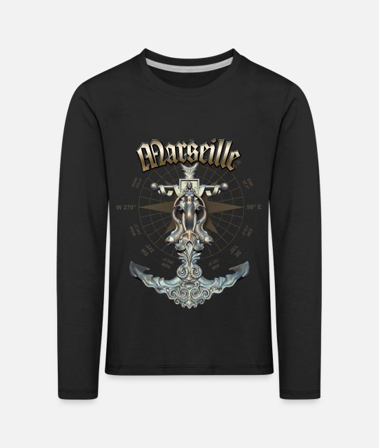 Diver Long-Sleeved Shirts - Marseille Anchor Nautical Sailing Boat Summer - Kids' Premium Longsleeve Shirt black