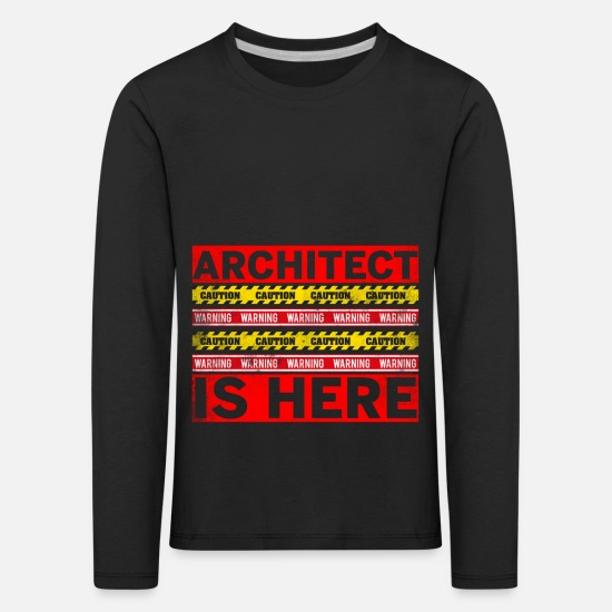 Gift Idea Long sleeve shirts - Architect building house sketches blueprint - Kids' Premium Longsleeve Shirt black