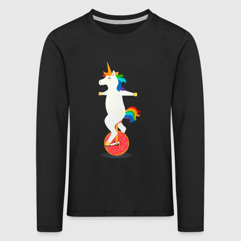Unicorn Riding On Donut Bicycle - Kids' Premium Longsleeve Shirt