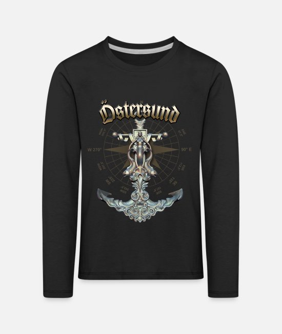 Diver Long-Sleeved Shirts - Östersund Anchor Nautical Sailing Boat Summer - Kids' Premium Longsleeve Shirt black