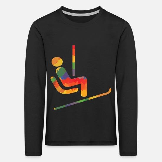 Färgade ski löpare Långärmad tröjor Långärmad premium T shirt barn svart