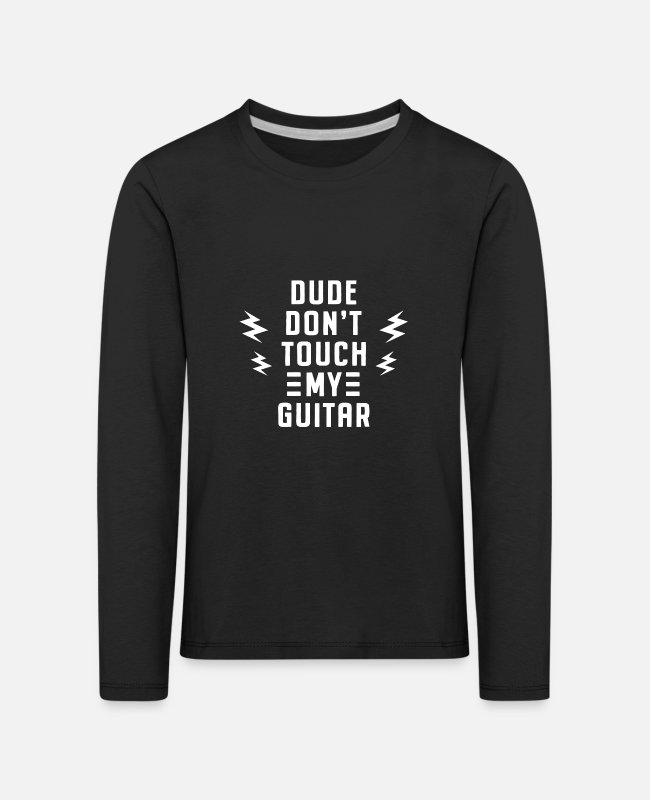Guitar Long-Sleeved Shirts - Rock N Roll Does not touch the guitarist funny - Kids' Premium Longsleeve Shirt black