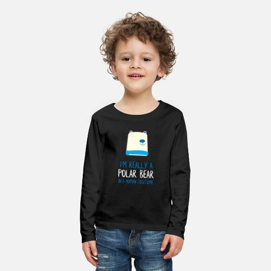 Man Long sleeve shirts - I'm Really a Polar Bear - Kids' Premium Longsleeve Shirt black