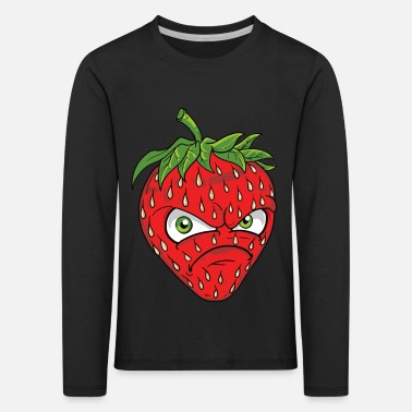 Common Tropical Fruits angry grim strawberry strawberry motif graphic - Kids' Premium Longsleeve Shirt