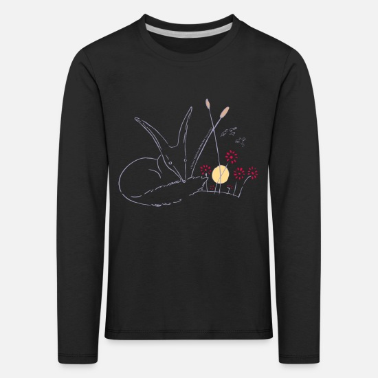 Drawing Long sleeve shirts - The Little Prince Fox In The Rose Garden - Kids' Premium Longsleeve Shirt black