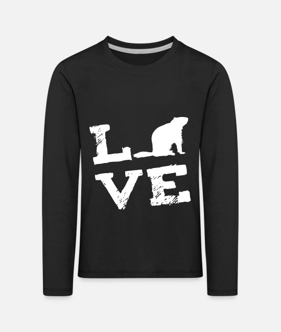 Groundhog Long-Sleeved Shirts - Woodchuck Groundhog LOVE gift - Kids' Premium Longsleeve Shirt black