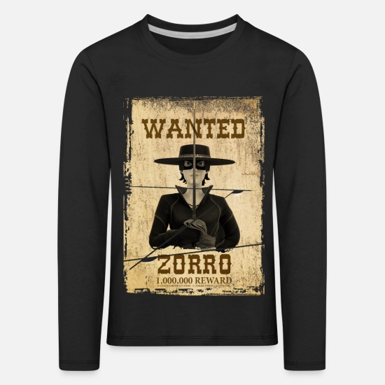 Zorro Long sleeve shirts - Zorro The Chronicles Wanted Poster - Kids' Premium Longsleeve Shirt black