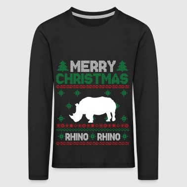 Cute Kids Rhinoceros Ugly Christmas Tshirt - Kids' Premium Longsleeve Shirt