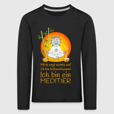Meditating rhinoceros deeply relaxing in orange - Kids' Premium Longsleeve Shirt