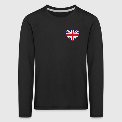 UK Flag Shirt Heart - Brittish Shirt - Børne premium T-shirt med lange ærmer