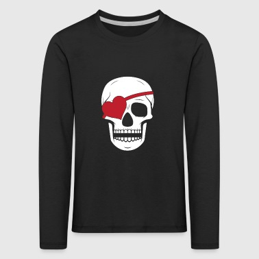 Valentines Day Pirate Skull Heart Eye Patch - Kids' Premium Longsleeve Shirt