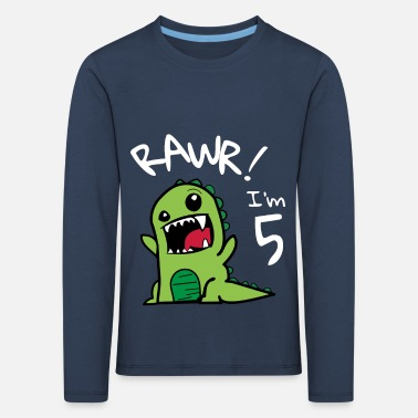Birthday Rawr I'm 5 dinosaur birthday boy - Kids' Premium Longsleeve Shirt