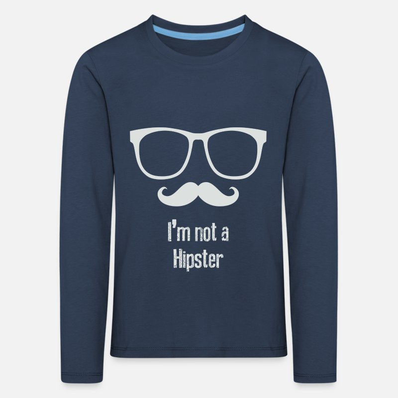 Caricature Long sleeve shirts - Not A Hipster - Kids' Premium Longsleeve Shirt navy