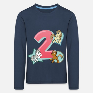 Girl Birthday 2 years horse, pony T-shirt Two - Kids' Premium Longsleeve Shirt