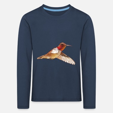 Watercolor brown hummingbird watercolor gift - Kids' Premium Longsleeve Shirt