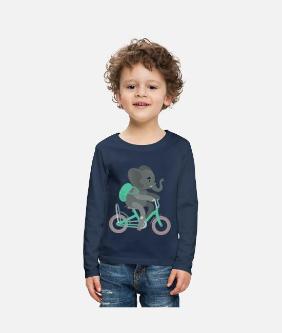 Backpack Long-Sleeved Shirts - Backpack elephant bike training kita - Kids' Premium Longsleeve Shirt navy