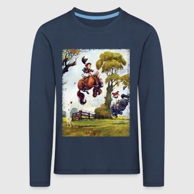 Pony rodeo Thelwell Cartoon - Kinderen Premium shirt met lange mouwen