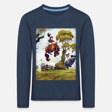 Pony Pony rodeo Thelwell Cartoon - Kinderen Premium shirt met lange mouwen