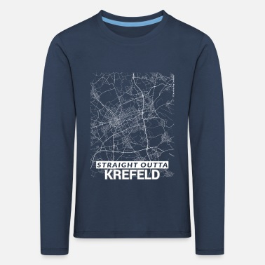 Cartography Straight Outta Krefeld city map and streets - Kids' Premium Longsleeve Shirt