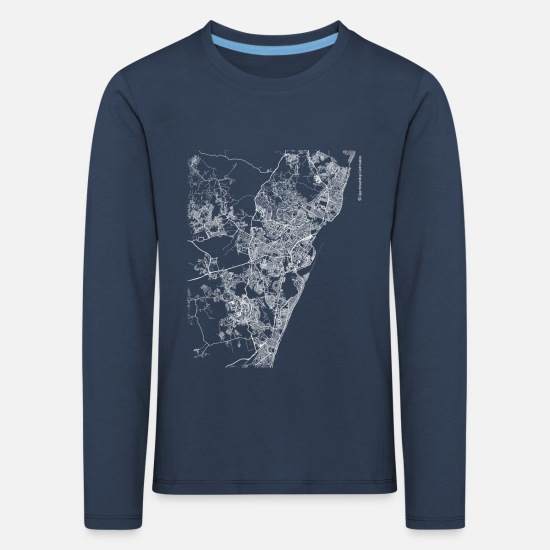 Area Long sleeve shirts - Minimal Recife city map and streets - Kids' Premium Longsleeve Shirt navy