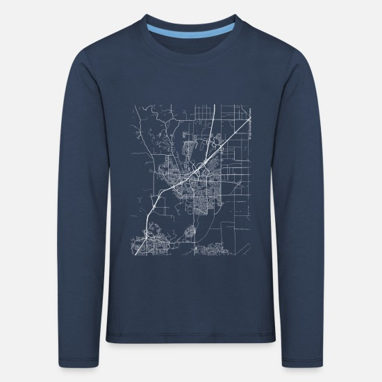 Cool Long Sleeve Shirts - Minimal Vacaville city map and streets - Kids' Premium Longsleeve Shirt navy