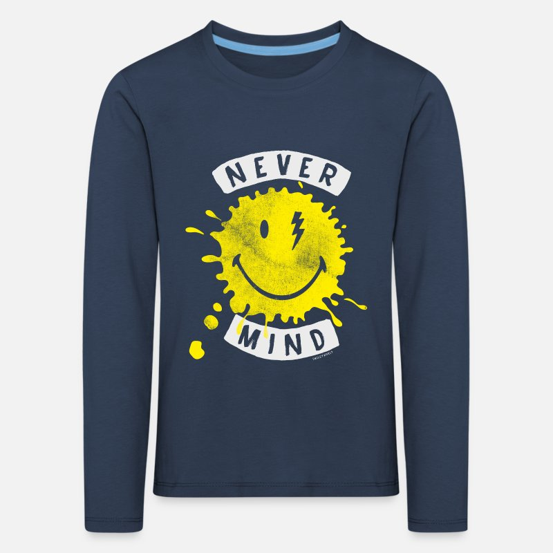 Mind Langarmshirts - SmileyWorld Never Mind Splash Smiley - Kinder Premium Langarmshirt Navy