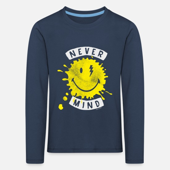 Reisen Langarmshirts - SmileyWorld Never Mind Splash Smiley - Kinder Premium Langarmshirt Navy