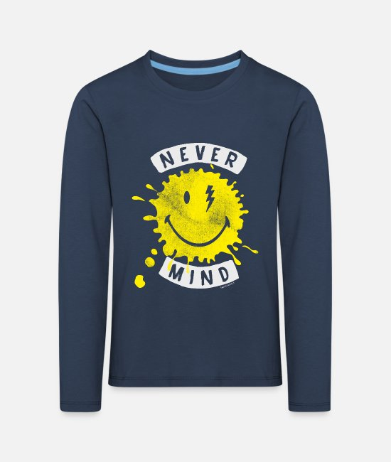Emoji Langarmshirts - SmileyWorld Never Mind Splash Smiley - Kinder Premium Langarmshirt Navy