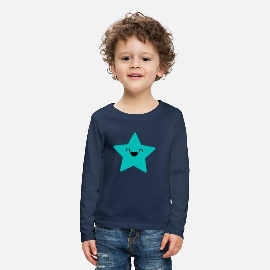 Ster Shirts met lange mouwen - SWEET STAR - Laughing Star in cyaan - Kinderen premium longsleeve navy