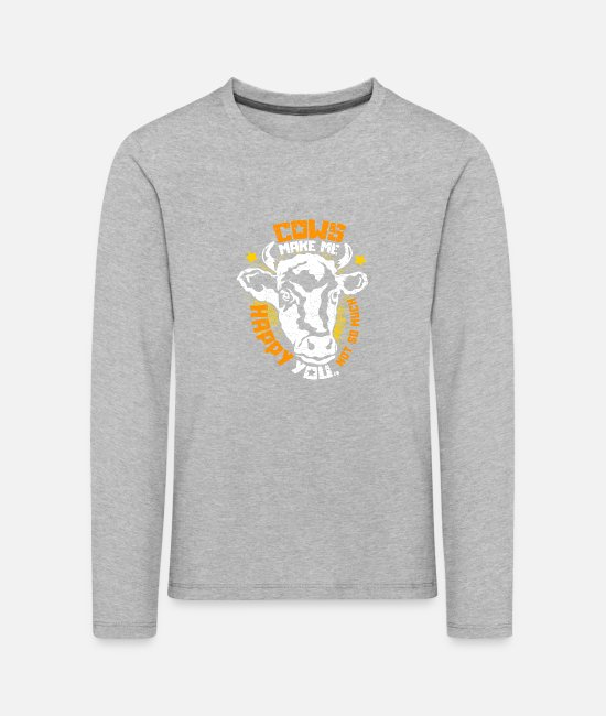 Muhviehstar Long-Sleeved Shirts - Cows make me happy. You, not so much - Kids' Premium Longsleeve Shirt heather grey