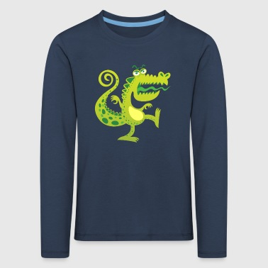 Scary reptile like monster growling in angry mood - Kids' Premium Longsleeve Shirt