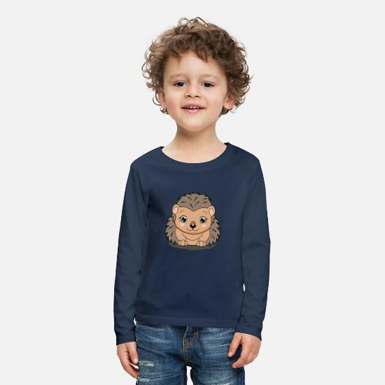 "For Kids Long Sleeve Shirts - lorey.w ""Hedgehog Ina"" - Kids' Premium Longsleeve Shirt navy"