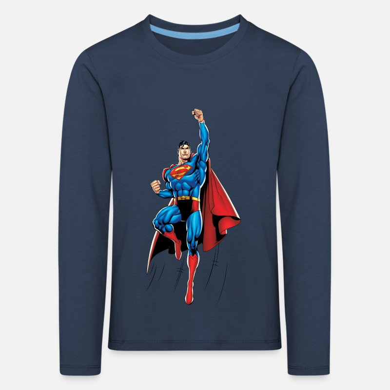 Geek Shirts met lange mouwen - Superman Up and Away Kids Longsleeve - Kinderen premium longsleeve navy