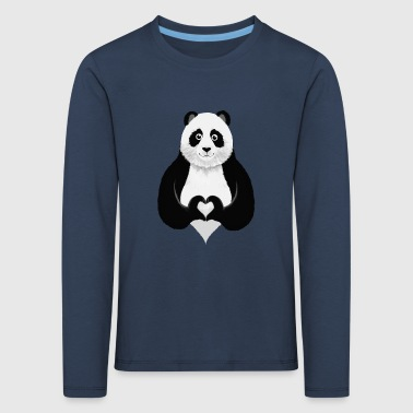 Cute Panda Heart Hand Sign - Kinder Premium Langarmshirt