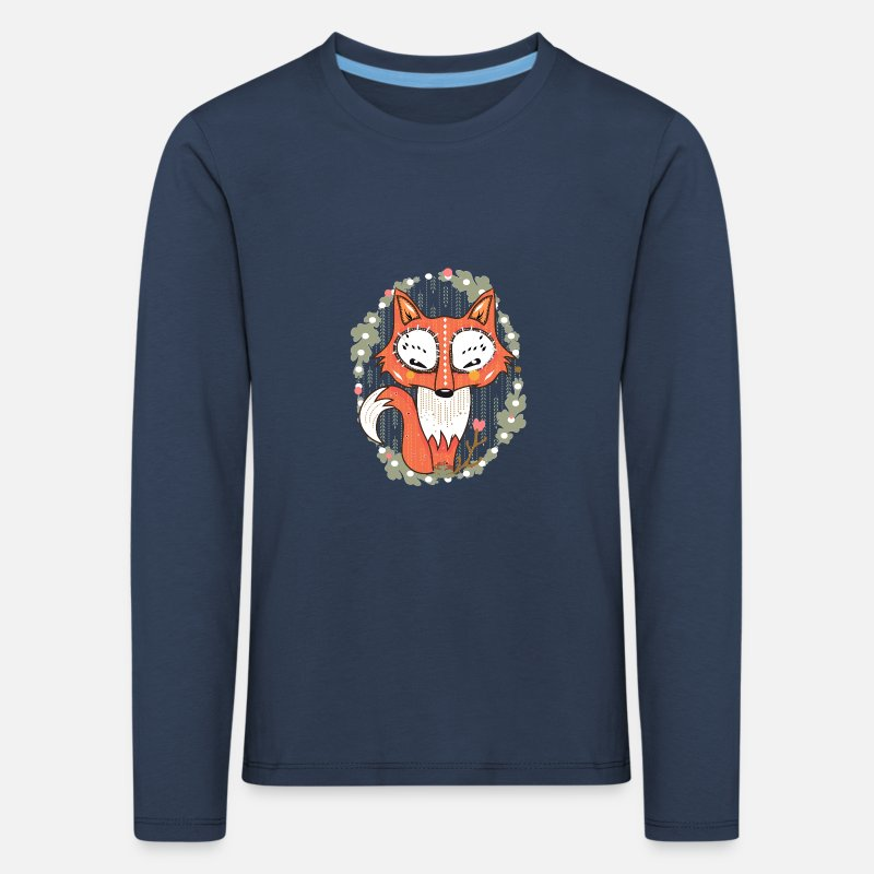 Bestsellers Q4 2018 Long sleeve shirts - a small fox in the forest  - Kids' Premium Longsleeve Shirt navy