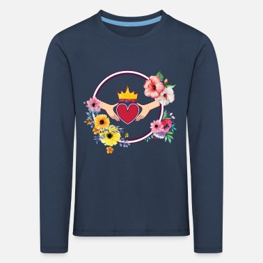 Wedding heart crown flowers - Kids' Premium Longsleeve Shirt