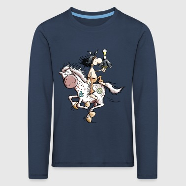American Indian with wild horse - Kids' Premium Longsleeve Shirt