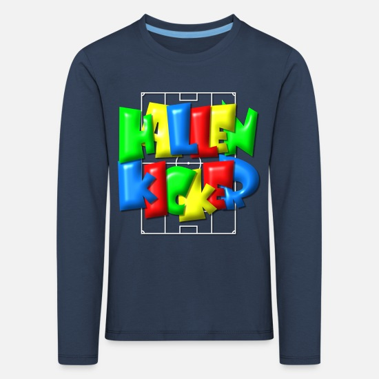 Birthday Long sleeve shirts - Hallenkicker in football field - Balloon style - Kids' Premium Longsleeve Shirt navy