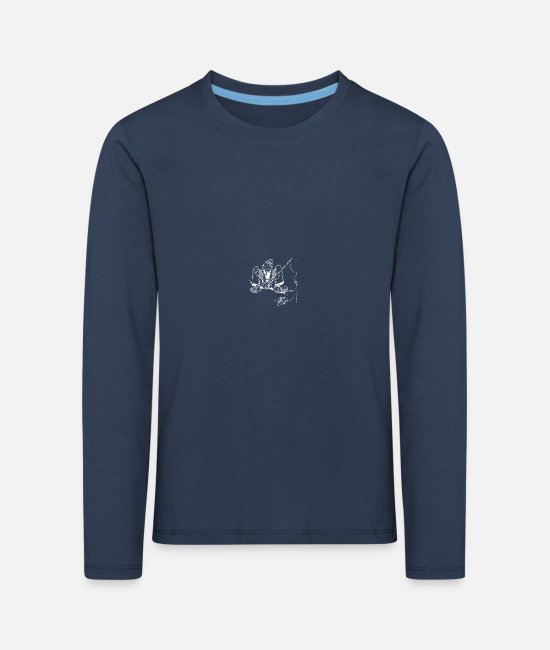 Fish Long-Sleeved Shirts - Old fisherman with fishing rod and fish - Kids' Premium Longsleeve Shirt navy