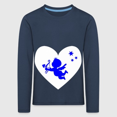 blue cupid, white heart - Kids' Premium Longsleeve Shirt