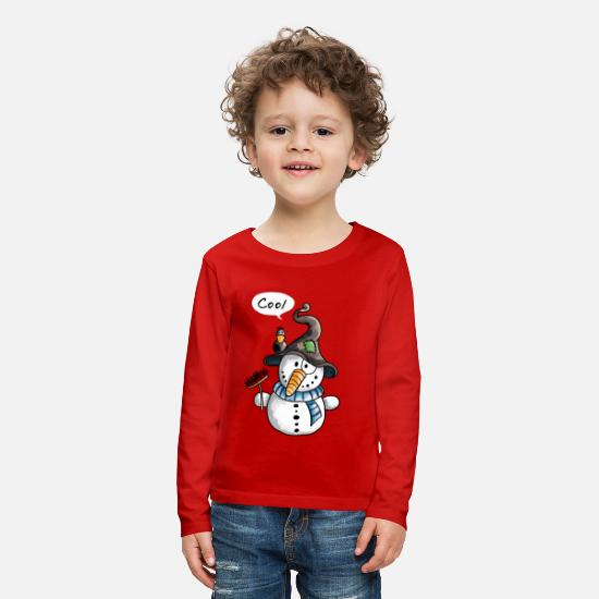 Awesome Long sleeve shirts - Cool Snowman - Winter - Christmas - Gift - Kids' Premium Longsleeve Shirt red