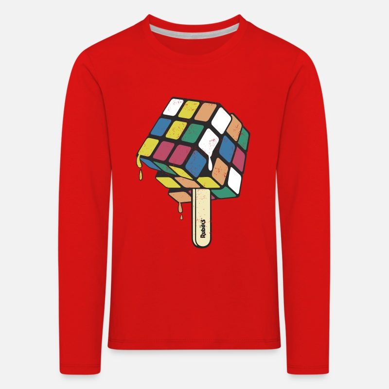 Officialbrands Long sleeve shirts - Rubik's Cube Ice Lolly - Kids' Premium Longsleeve Shirt red