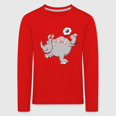 Rhinoceros Rhinoceros Playing Football - Kids' Premium Longsleeve Shirt