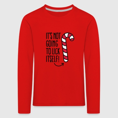 It's not going to lick itself (candy cane) - Kids' Premium Longsleeve Shirt